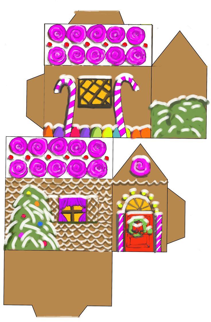 printable paper christmas houses | Gingerbread House( jpg ) Gingerbread House ( blank )
