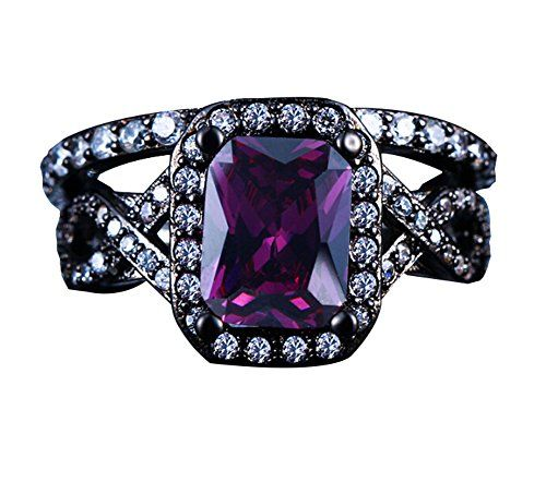 Cushion-Cut 2 Piece Set 18K Gold Gun-Plated Purple Cubic Zirconia Engagement Wedding Rings