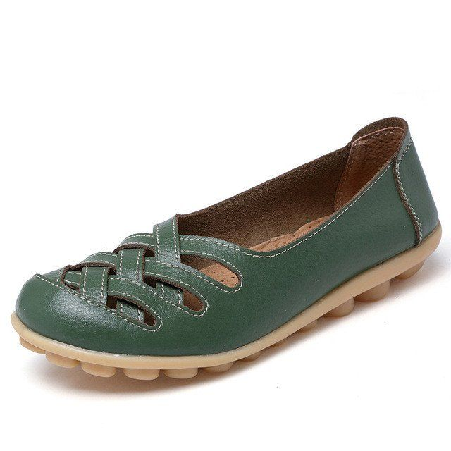 Moss Green Casual Comfy Smooth Shoes with Lattice Hatched Upper - Comf – Nodule Shoe