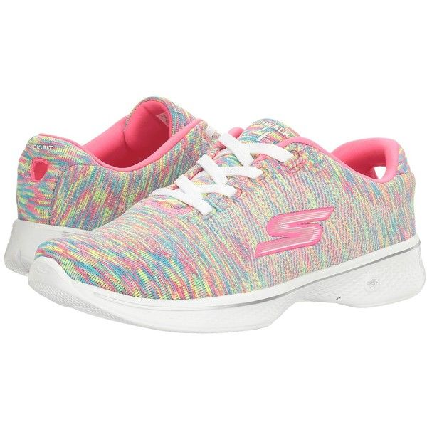 SKECHERS Performance Go Walk 4 (Multi) Women's Shoes (7460 RSD) ❤ liked on Polyvore featuring shoes, athletic shoes, laced shoes, shock absorbing shoes, cushioned walking shoes, skechers and grip shoes