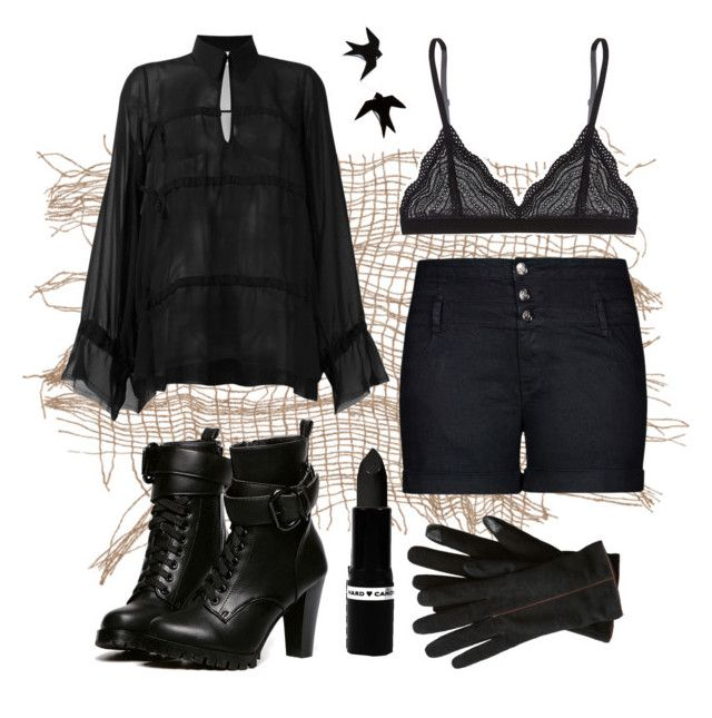 """""""Black on Black"""" by rurustarr on Polyvore featuring MM6 Maison Margiela, Cosabella, City Chic, WithChic, Hard Candy, contest, black, goth, witch and BendTheTrend"""
