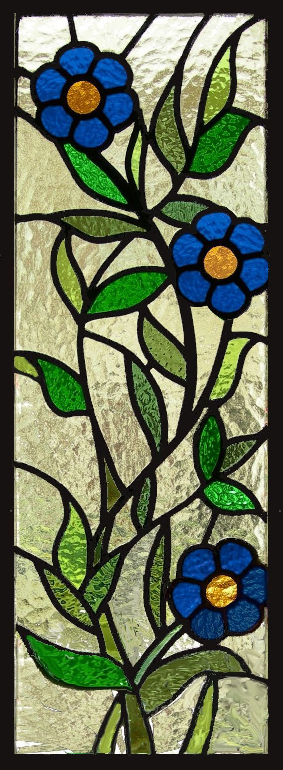 Beach theme decoration stained glass window panels arts crafts - Vine Of Daisys Stained Glass Window Panel