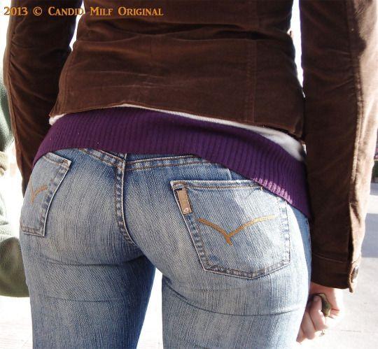 Milf Arsch in engen weißen Jeans