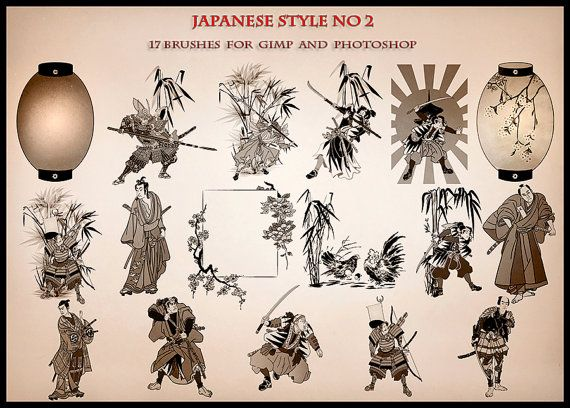Japanese style17 brushes for GIMP and Photoshop.Digital by AszArt