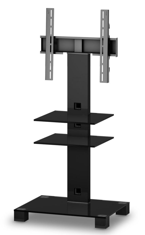 ELBE PL-2525-B-HBLK MUEBLE SOPORTE PARA TELEVISIÓN  - Mueble soporte para televisión.  - Para pantallas de hasta 50 pulgadas. - Peso soporte hasta 50 kg.  - Materiales: Cristal, aluminio y soporte de hierro. - Colores: Cristal negro con columna trasera y patas negras. - (An-Al-Pr): 65 x 126 x 50 cm. - Peso: 19.2 kg.