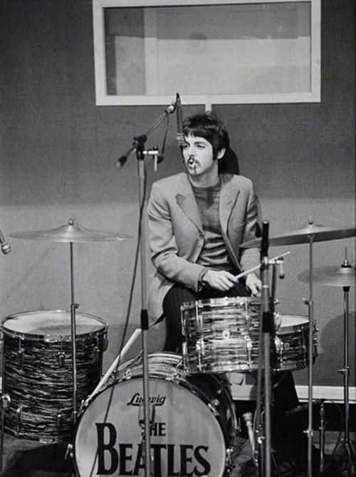 Paul on Ringo's drums