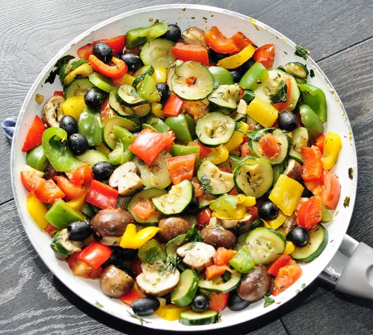 An Easy Healthy Side Dish: Rainbow Vegetable Side Dish With Olives And Mushrooms