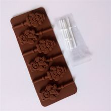 DIY Silicone Chocolate Lollipop Mold Kitchen Baking Pastry Tools Christmas Sweet Candy Mould Cheap Christmas Silicone Bakeware(China)