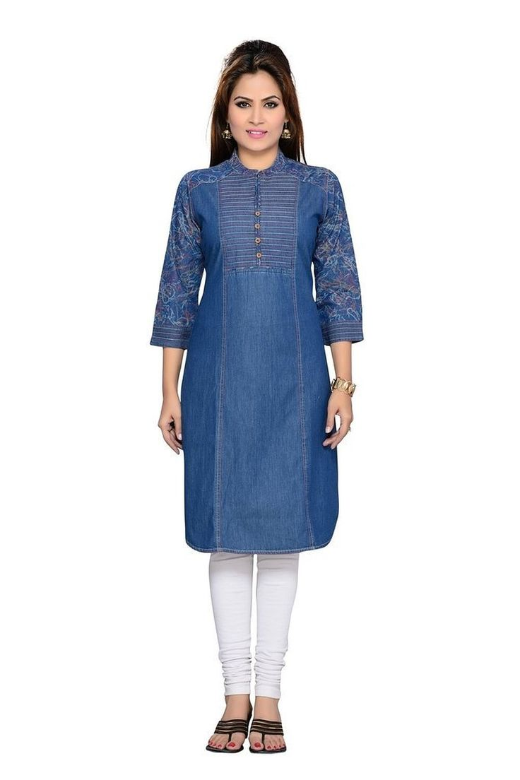 F-Loop Women Denim stitched kurti (D-8_Blue): Amazon.in: Clothing & Accessories