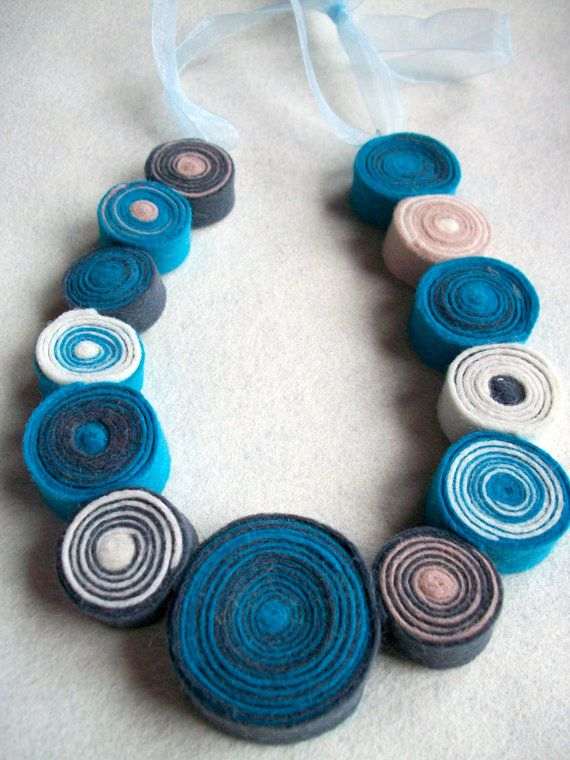 Turquoise and Grey Felt Necklace by PiecyksPieces on Etsy, $15.00