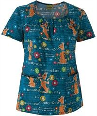 Cherokee Tooniforms Scooby So Sweet Disney Scrub Top small