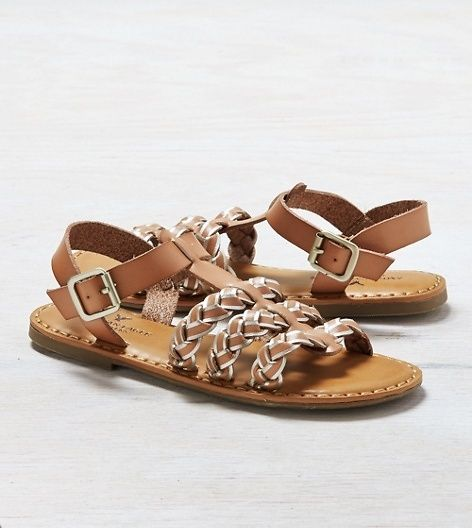 AEO Strappy Braided Sandal, Natural | American Eagle Outfitters