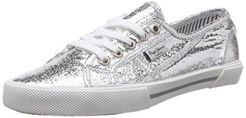 Pepe Jeans London ABERLADY METAL, Damen Sneakers, Silber (934SILVER), 36 EU - http://uhr.haus/pepe-jeans/pepe-jeans-london-aberlady-metal-damen-sneakers