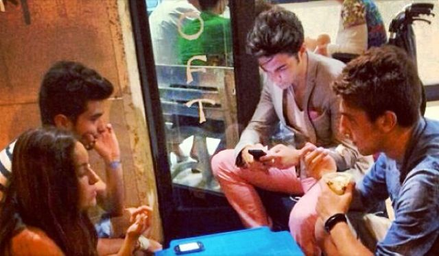 First night home between tours for Gianluca Ginoble in Montepagano Abruzzo Italy, with friends! Tweeting fans around the world! 7/13/2013