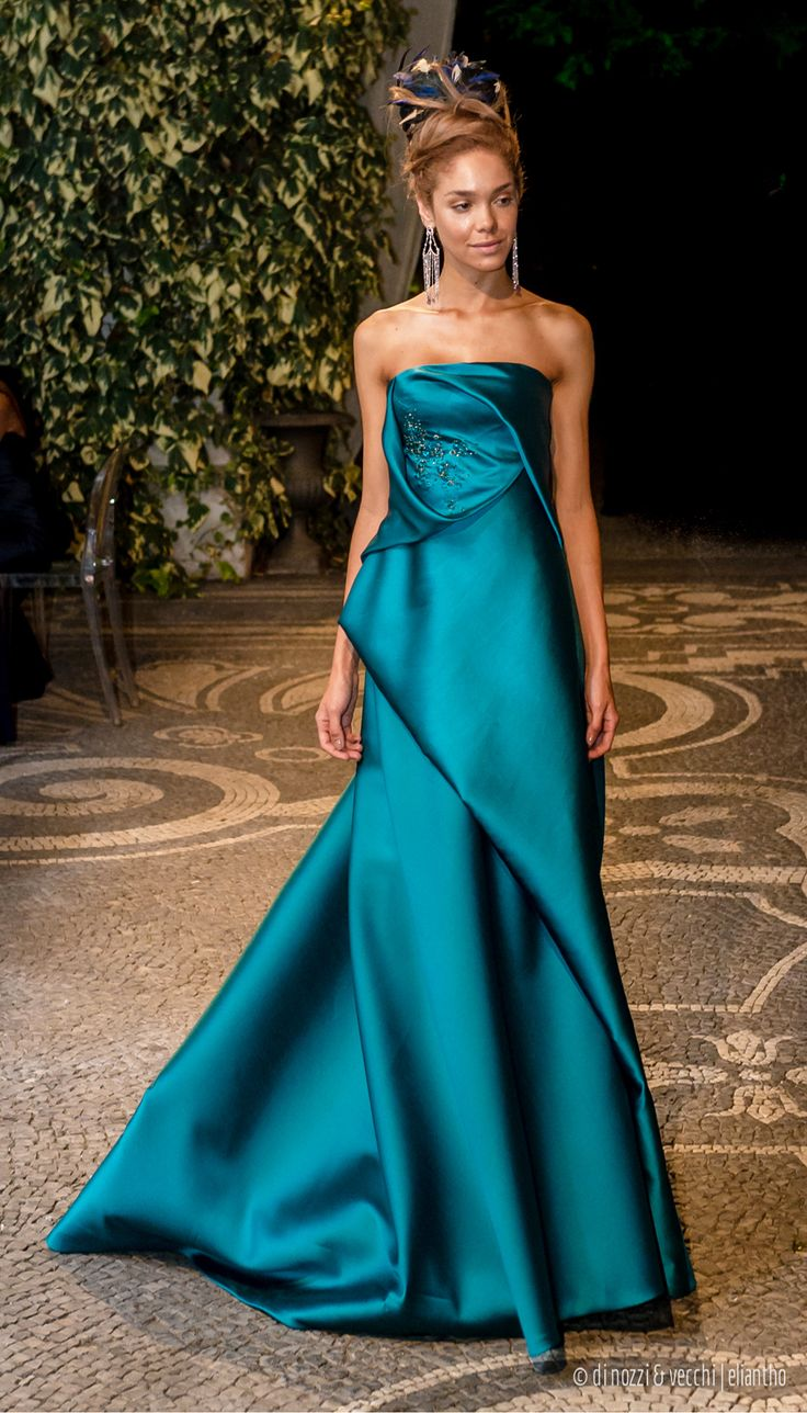 160028 - strapless #mermaid dress in #mikado with embroidered bodice and drapings on the front
