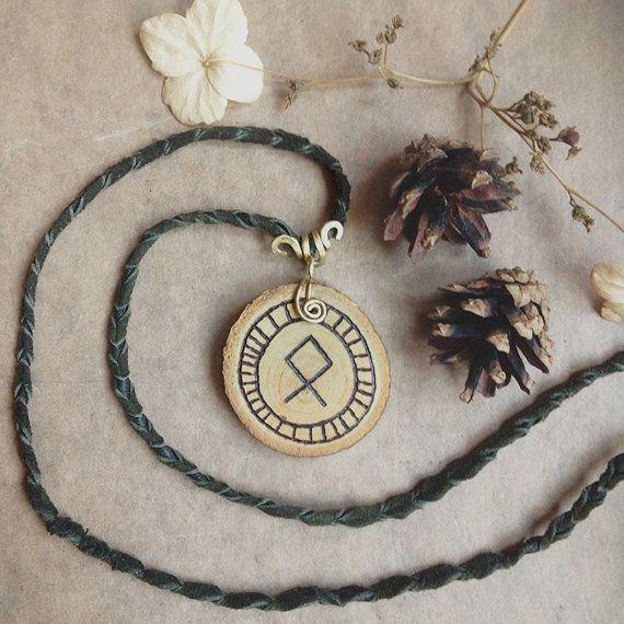 othala rune necklace  wooden rune pendant  viking by gorimbaud