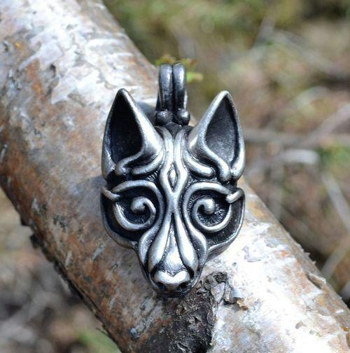 Zinn Viking Wolf Kopf Anhänger Juwel keltische heidnischen Schmuck Schmuck Halskette Fenrir