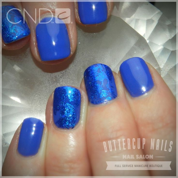CND Shellac in Blue Eyeshadow with blue foiling on feature nails.    #CND #CNDWorld #CNDShellac #Shellac #BlueEyeshadow #FoilNails #BlueNails #ButtercupNails