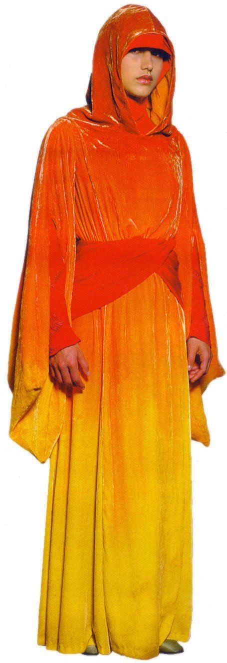 Naboo Queen's handmaiden robes (also Padme's disguise in Episode I as Padme Naberrie instead of her true self, Padmè Amidala)