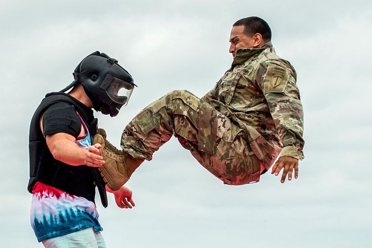 """A soldier demonstrates hand-to-hand combat on a """"volunteer"""" from the crowd during the 6th Ranger Training Battalion's open-house event, April 29, 2017, at Eglin Air Force Base, Florida."""