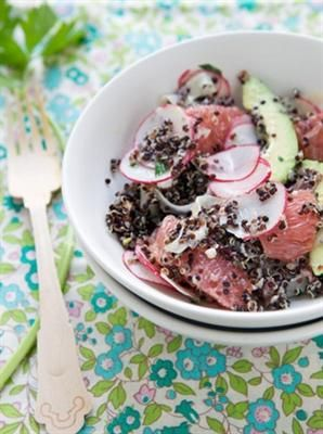 18 Best Quinoa Salad Recipes on the Interwebs: Vitamin-Boosted Salad with Black Quinoa with kaffir lime leaf, pink grapefruit, avocado, fennel bulb, pink radishes, feta cheese