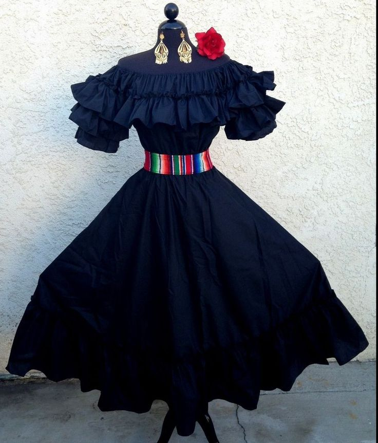 MEXICAN FIESTA,5 DE MAYO,WEDDING BLACK DRESS OFF SHOULDER 2 PIECE W/SARAPE SASH