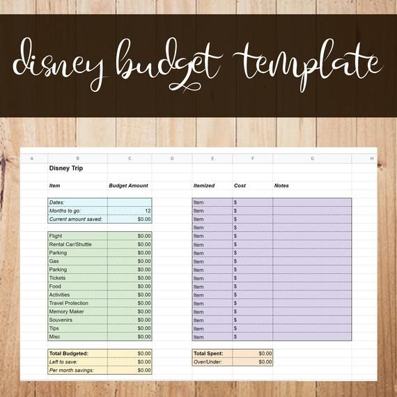 Disney Vacation Budgeting Template Excel Vacation Budget Template Vacation Budget Template Budget Vacation Budgeting