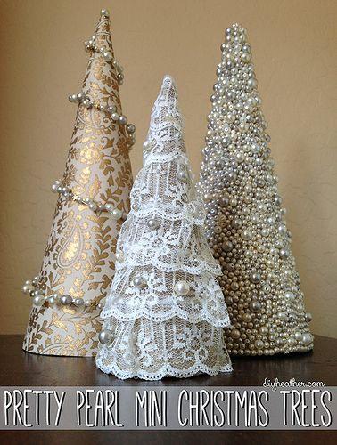 DIY with Heather's Help: Pretty Pearl Mini Christmas Trees