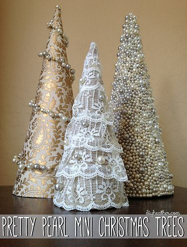 DIY with Heather's Help: Pretty Pearl Mini Christmas Trees
