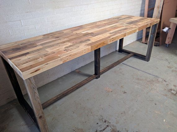 Reclaimed Wood Bar Restaurant Counter Community Rustic Custom Kitchen  Coffee Conference Office Meeting Table Hightop High Top Tables