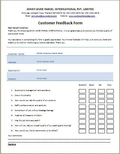 Ms word printable customer feedback form template word excel Word