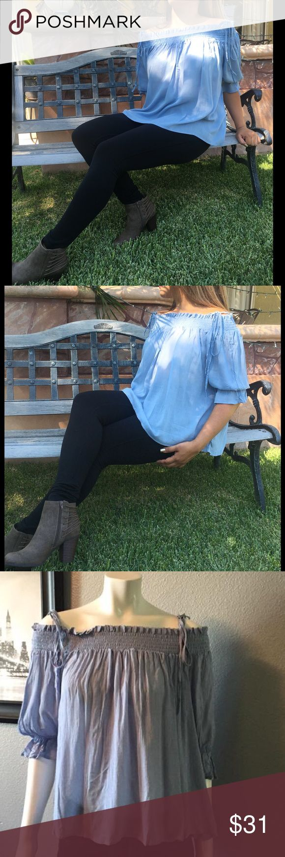 Fall in love with this light blue off shoulder top **NEW** Fall in love with this Light blue off shoulder top 💙, lightweight with thin straps that tie over the shoulders. This is a one size top, super light weight! (NWOT).    Light steaming is required. Tops Blouses