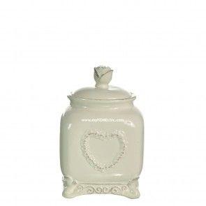 Barattolo cuore piccolo in ceramica bianca