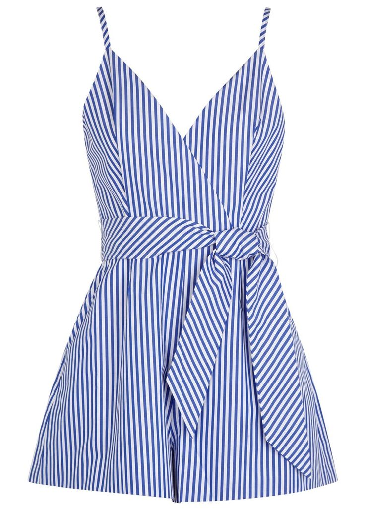 Finders Keepers blue and white cotton poplin playsuit Striped, adjustable shoulder straps, wrap-effect front, front pleats, side pockets, belt loops, detachable waist tie, fully lined Exposed zip fastening at back 100% cotton; lining: 100% polyester
