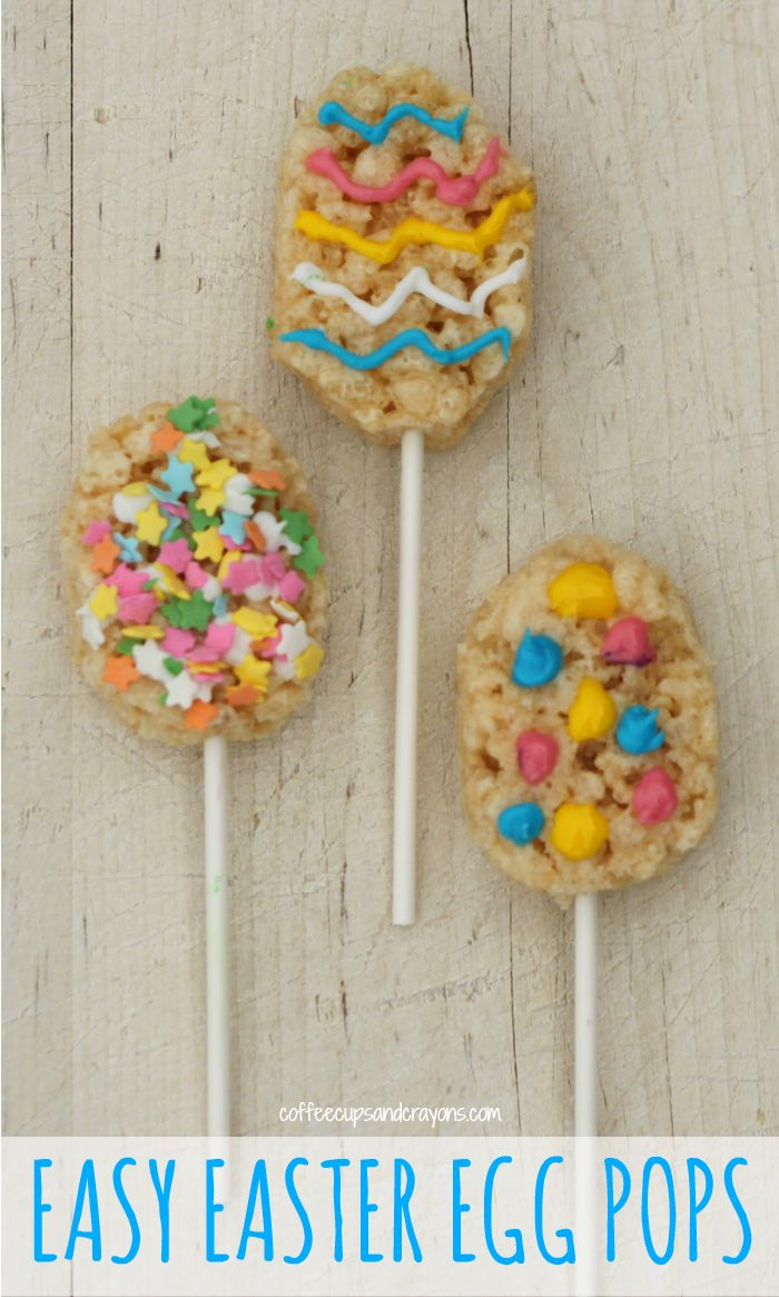 We made these semi-homemade Easter Egg Rice Krispies Treat Pops. They are a super easy Easter snack for kids and a fun after school activity for the whole family!