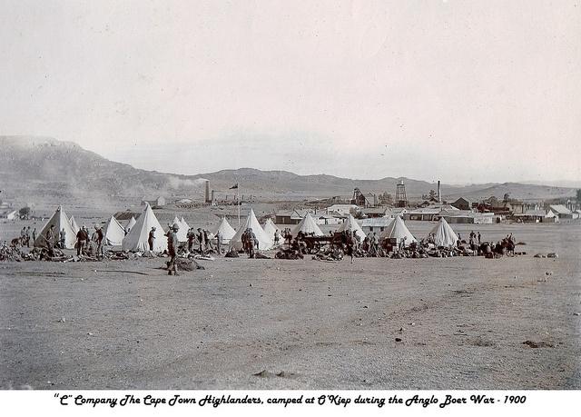 O'Kiep 1900 Cape Town Highlanders camp during the Boer War.