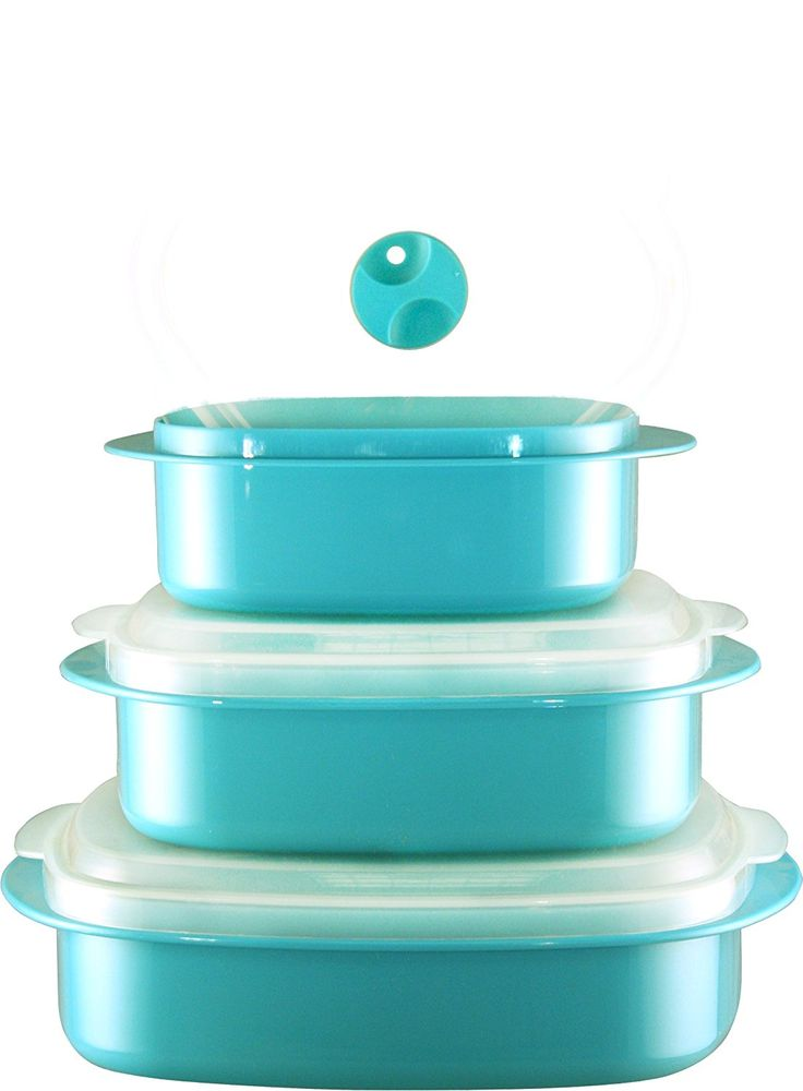 Calypso Basics 3-Piece Microwave Steamer Set, Turquoise ** Quickly view this special  product, click the image : Steamers, Stock and Pasta Pots