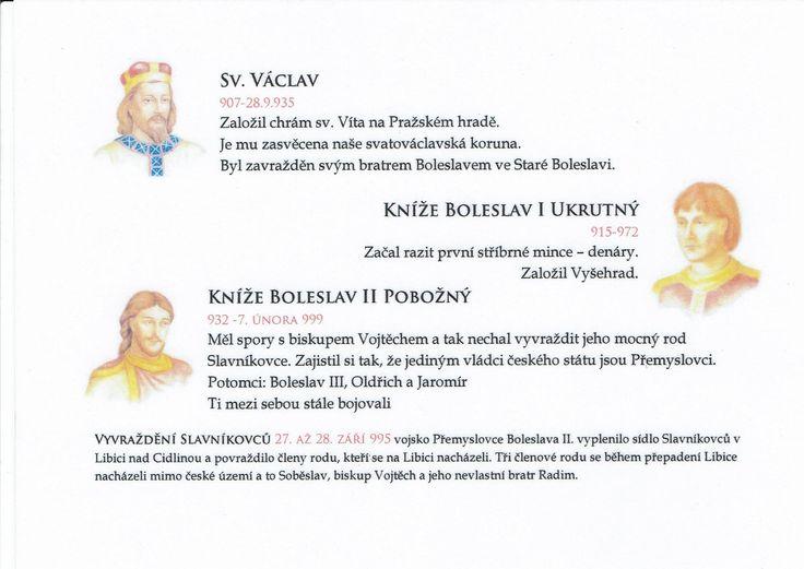 Přemyslovská knížata 2/3 (Kartičky o Historii - Doporučuji zafoliovat a pak chronologicky ukládat do pořadače)