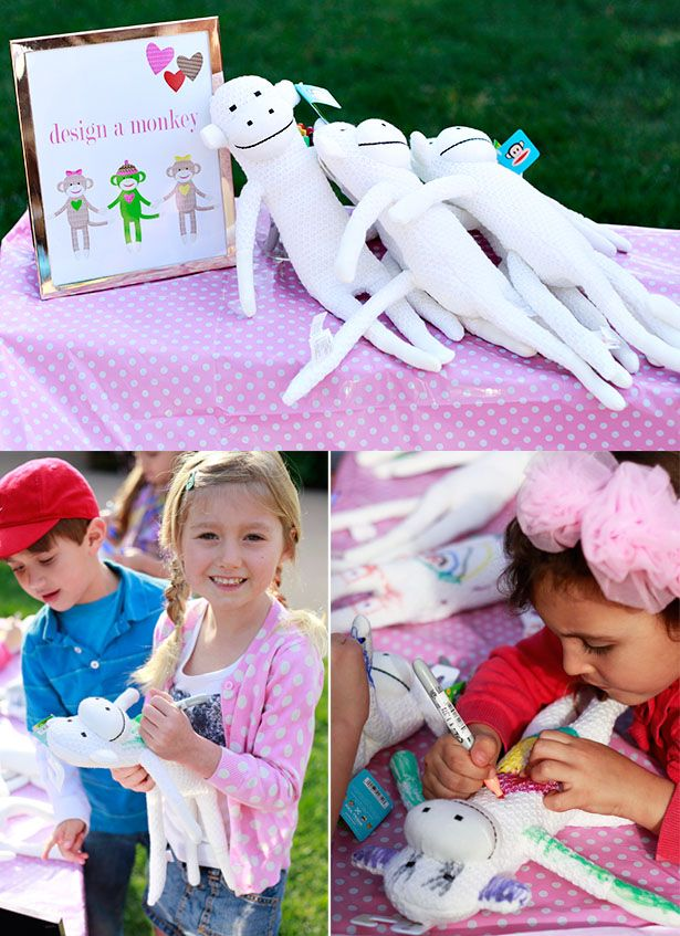 Design a Sock Monkey Crafting Station- Love this idea for a birthday party!