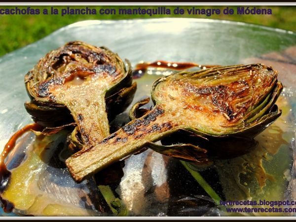 Receta Entrante : Alcachofas a la plancha con mantequilla de vinagre de módena. por Tererecetas