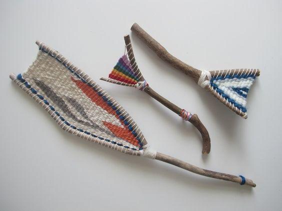 Stick loom project/magic wands: outdoor art, Native art, handicrafts, fiber arts