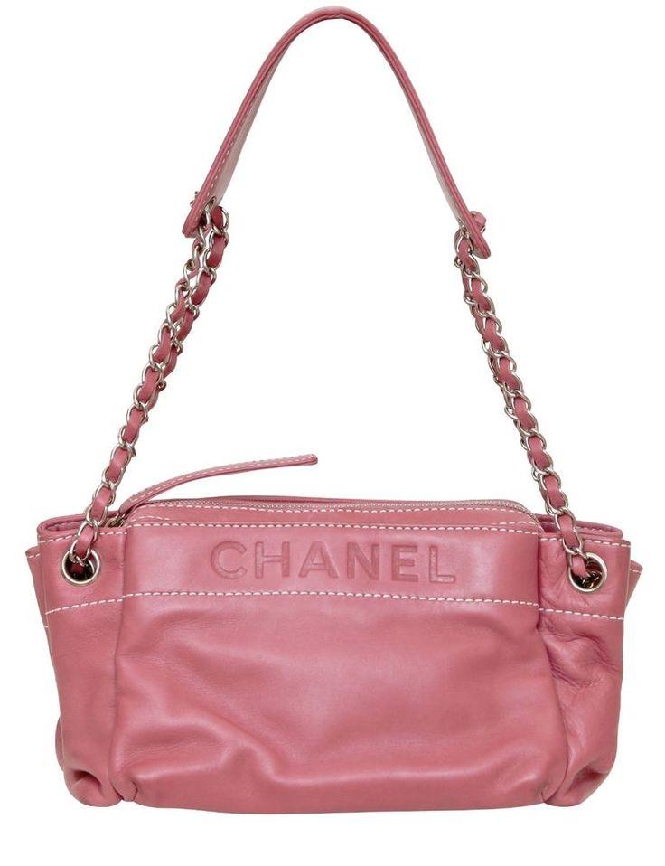 Chanel Pink Lambskin Leather Shoulder Bag Silver Purse Embossed White Stitching #CHANEL #ShoulderBag