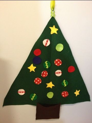 Felt Christmas tree for toddlers to decorate and undecorate.  So easy I'm thinking about making more of these as gifts :)  Plus my kids love it!