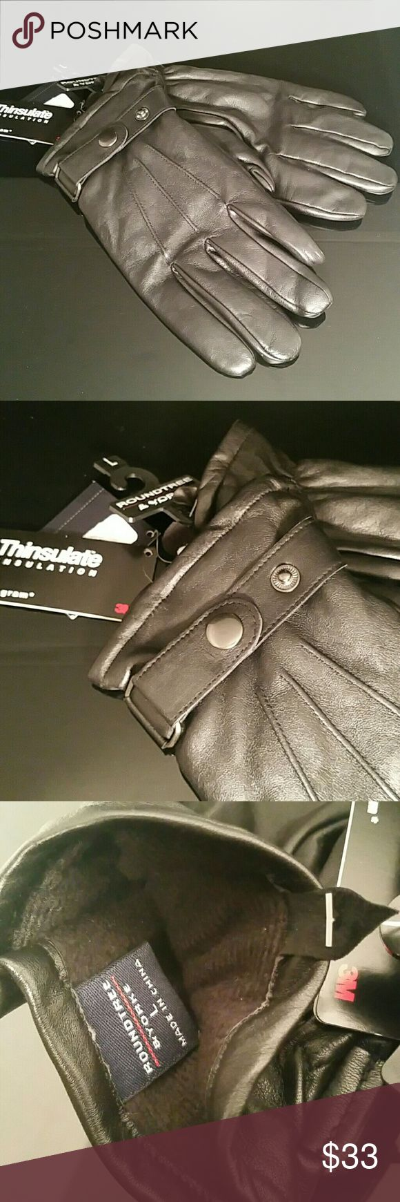 Men's Thinsulate Leather Black Moto Gloves Large These 3M Thinsulate lined leather gloves offer a soft supple leather with snap button wrist strap. Roundtree & Yorke Accessories Gloves