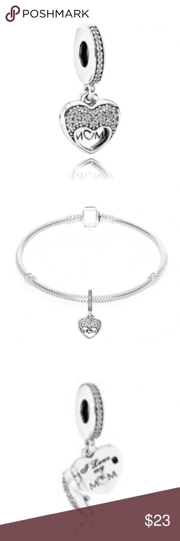 Sterling Silver I Love My Mom This Beautiful And Stunning NEW Charm is sterling silver with clear cz stone with a heart locket.This charm is non threaded and will fit Pandora jewelry. CH081 WEIGHT 3.25 Clear cz stones Non Threaded Locket Pandora-like Jewelry