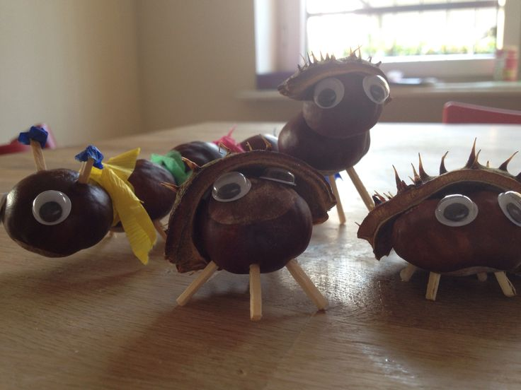 Chestnut figures very easy and fun DIY project with kids. Just need chestnuts, a pushpin to make holes, wooden sticks for legs, eyes and maybe clay or paper for scarves etc