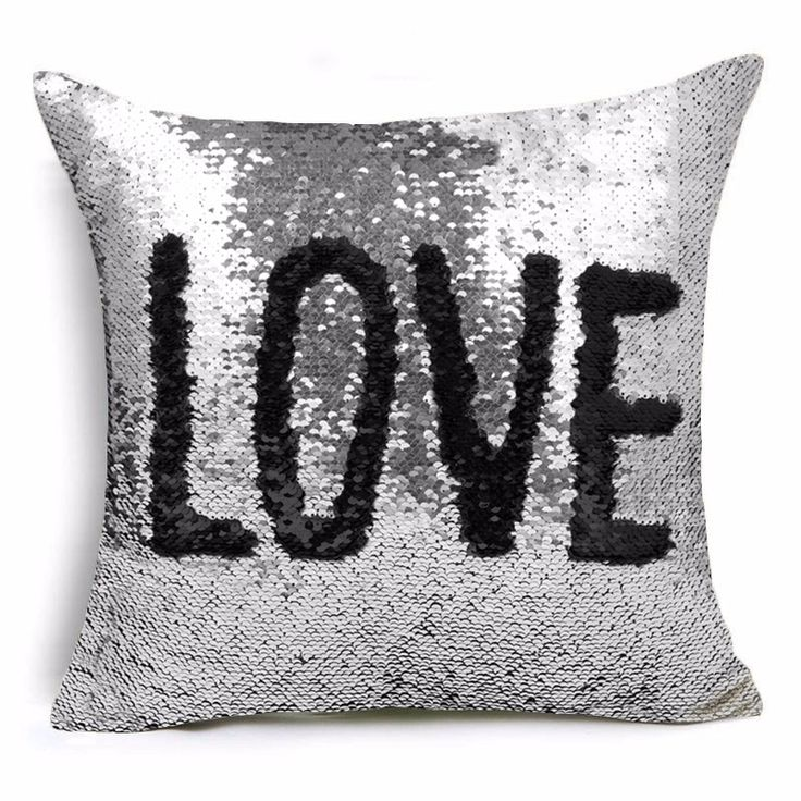 nice Hyha Two Tone Reversible Glitter Mermaid DIY Cushion Cover Sequins Glitter Shinning Sequins Mermaid Closrful Throw Pillow Cover