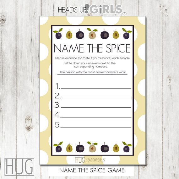Digital Printable Name the Spice Game with Rows of by HeadsUpGirls, $5.00