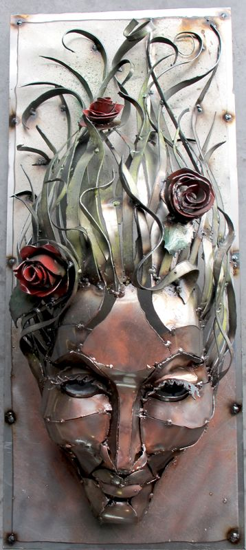 Roses in Hair, Metal sculpture, woman Created by Joel Sullivan of Iron Designs Nova Scotia
