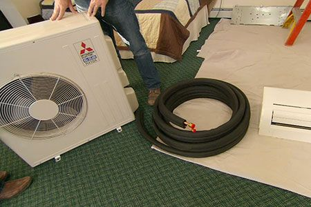 with This Old House plumbing and heating expert Richard Trethewey and host Kevin O'Connor | thisoldhouse.com | from How to Install a Ductless Heat Pump